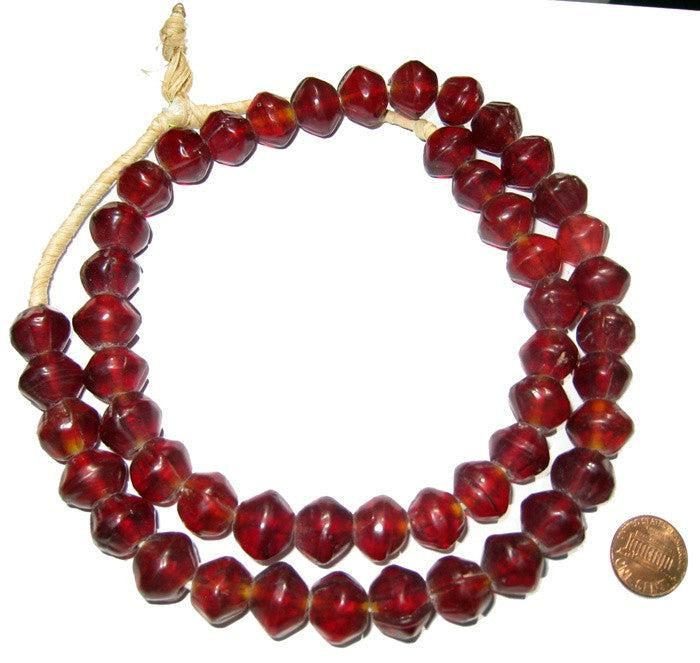 Garnet-Red Vaseline Beads - The Bead Chest
