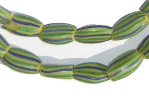 Blue Striped Watermelon Chevron Beads - The Bead Chest