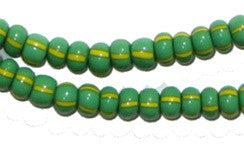 Image of Green & Yellow Chevron Beads (4mm) - The Bead Chest