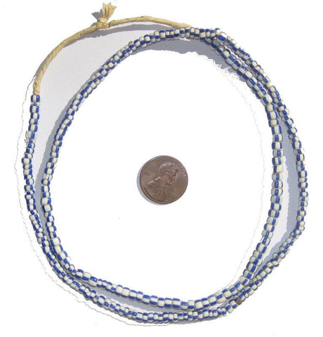 Blue & White Ghana Chevron Beads (Small) - The Bead Chest