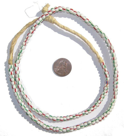 Red, Green, & White Ghana Chevron Beads (Small) - The Bead Chest