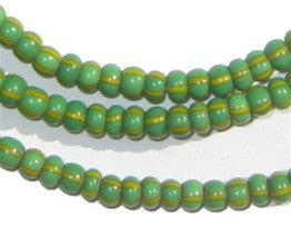 Green & Yellow Chevron Beads (4mm) - The Bead Chest