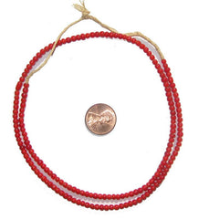 Red White Heart Beads (3-4mm)