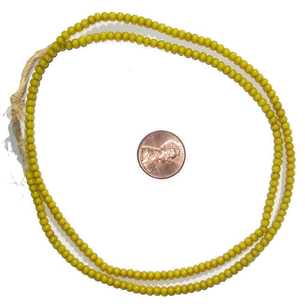 Yellow White Heart Beads (3mm)