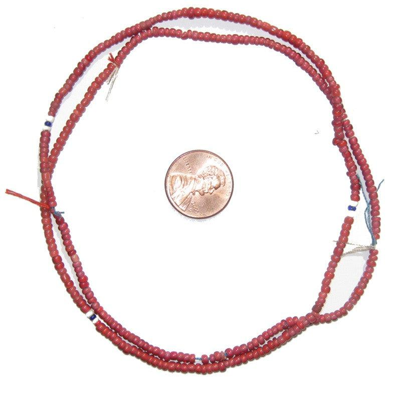 Old Red White Heart Beads (2mm) - The Bead Chest