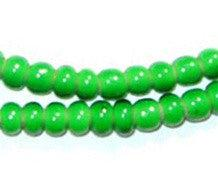 Green White Heart Beads (6mm) - The Bead Chest