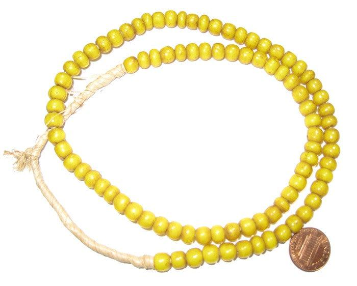 Yellow White Heart Beads (6mm) - The Bead Chest
