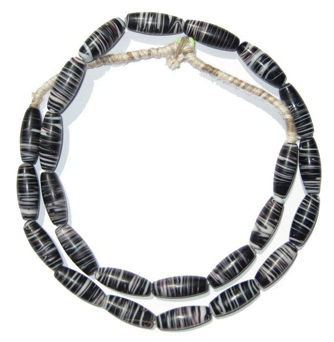 Black Wind Whorl Beads - The Bead Chest