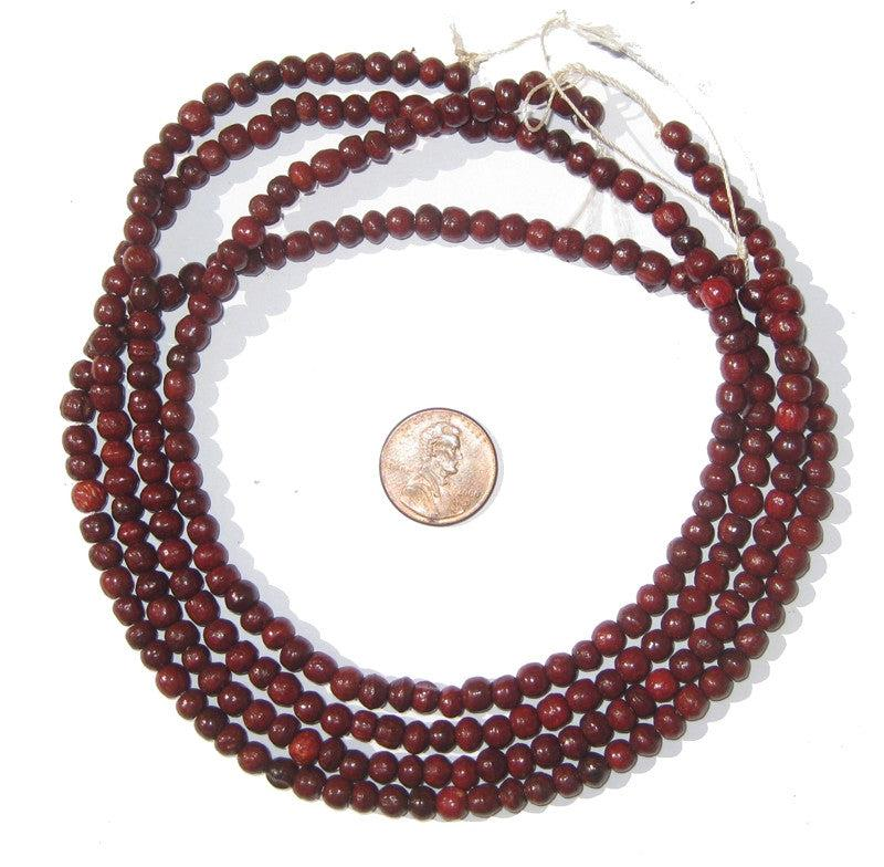 Red Wood Beads (5mm, Round) - The Bead Chest
