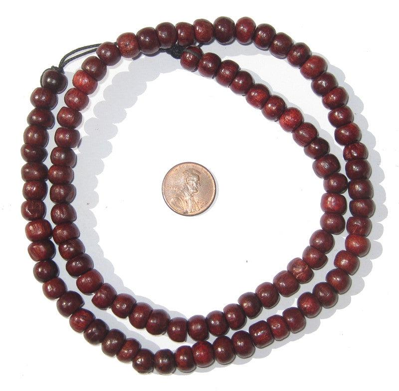 Red Wood Beads (8mm, Round) - The Bead Chest