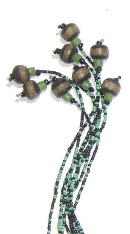 "5' ""Forest Green"" African Wedding Waist Bead Belt - The Bead Chest"