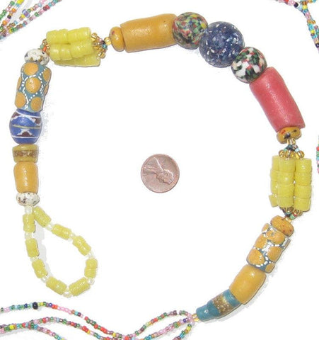 "Image of 5' ""Powder Glass Medley"" African Wedding Waist Bead Belt - The Bead Chest"