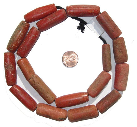 Yoruba Mock Coral Beads (Cylindrical) - The Bead Chest