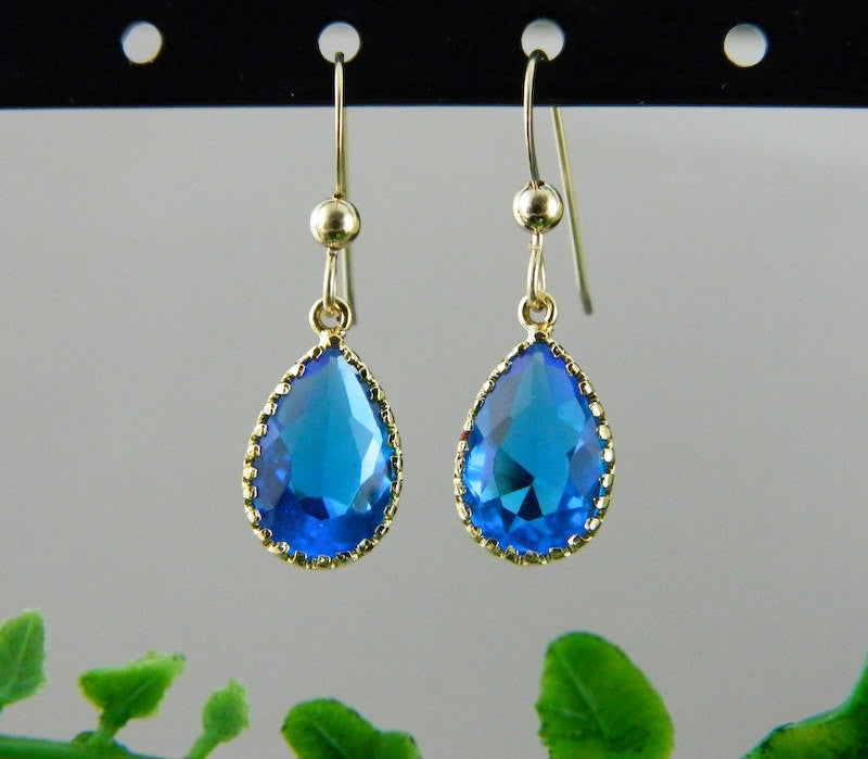 Royal Blue Earrings, Gold Bridesmaid Earrings,Teardrop Earrings, Dangle, Marine Blue