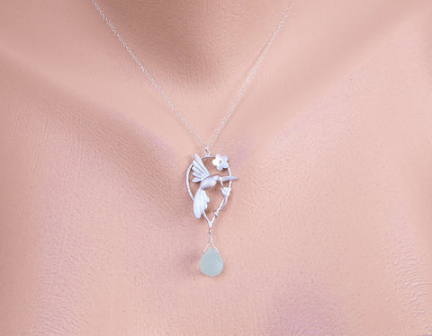 Personalized birthstone with Hummingbird Necklace