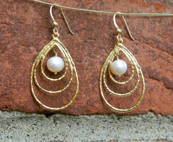 Teardrop Earrings, Dangle Pearl Earrings, Gold Drop Earrings