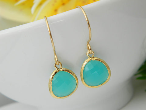 Birthstone Earring, Gift for Her, Drop Gemstone Earring, Gold, Dangle Earring