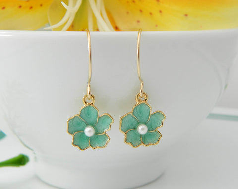 Gold Cherry Blossom Earrings, Flower Hoop Earrings, Bridesmaid Gift