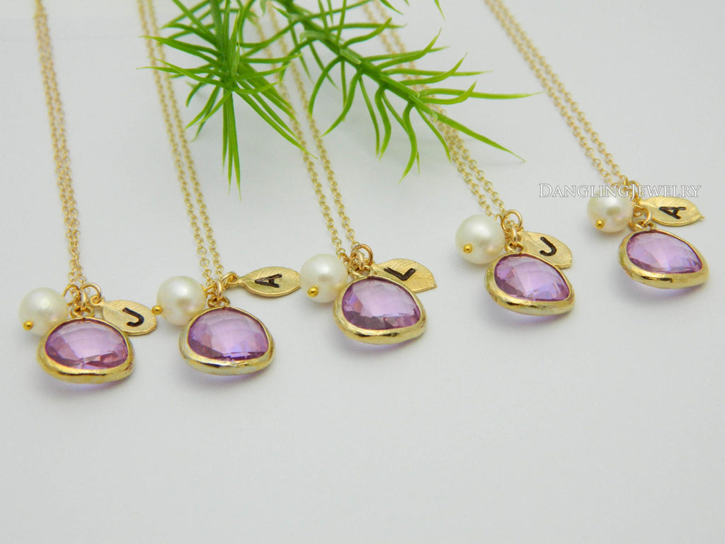 Lilac Wedding Jewelry, Bridesmaid Gift, Personalized Necklace Set FIVE