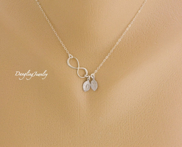 Hand stamp custom initials infinity necklace