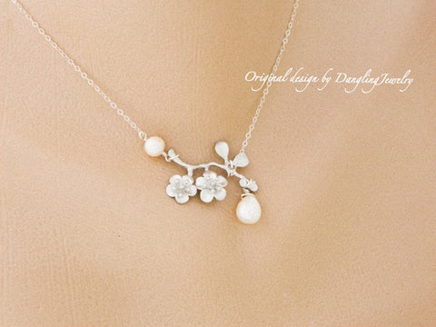 Cherry blossom Birthstone Necklace or Cherry blossom Pearl Necklace