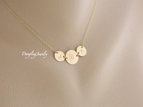 Monogram 3 disc necklace