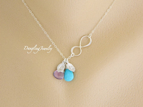 Personalized infinity birthstone initial charm necklace