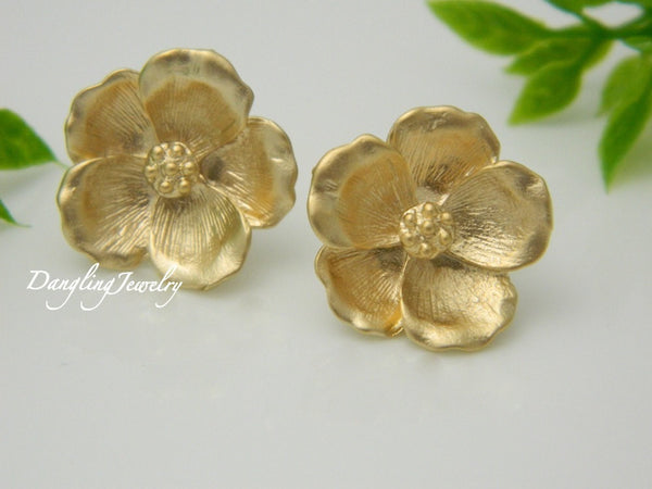 Magnolia Stud Earrings, Flower Earrings, GOLD Post Earrings