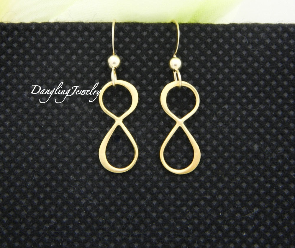 Gold Infinity Earrings, infinity Drop Earrings
