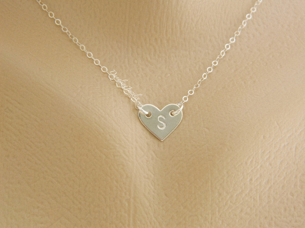 Personalized heart charm necklace - Sterling Silver