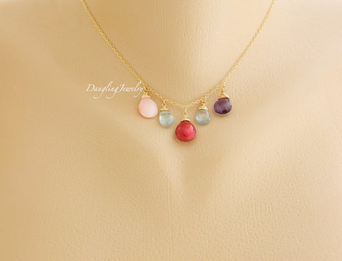 Birthstone Necklace, Gemstone Necklace