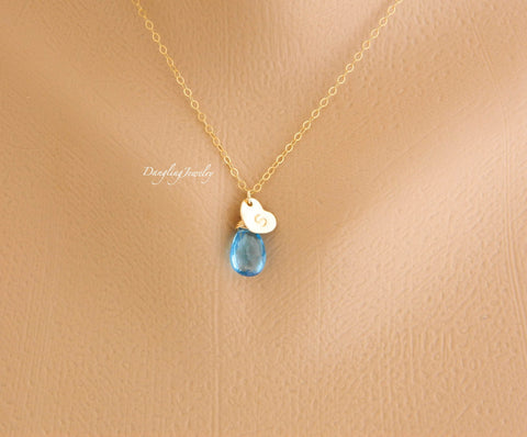 Personalized initial on heart and birthstone necklace