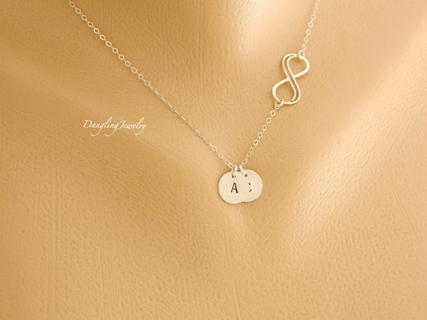 Personalized initials disc charm with double infinity