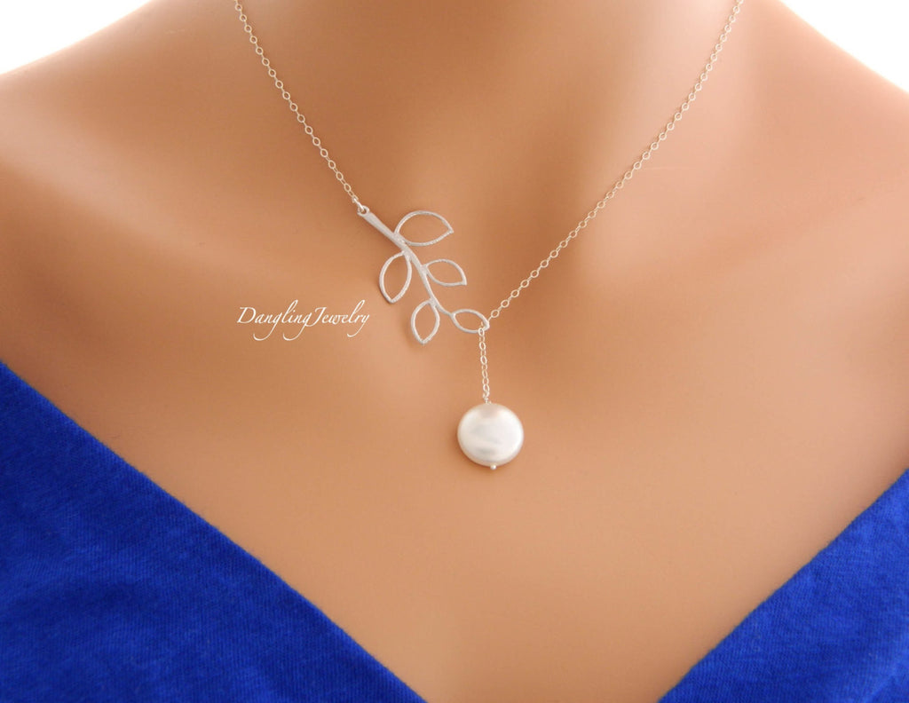 Coin Pearl with Orchid lariat necklace