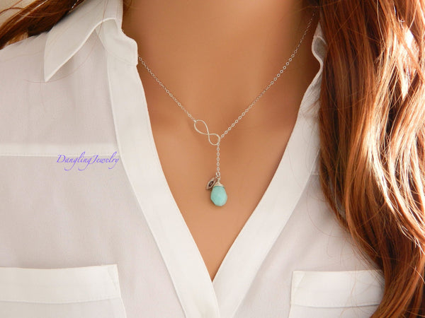 Custom birthstone with initial and single infinity charm necklace