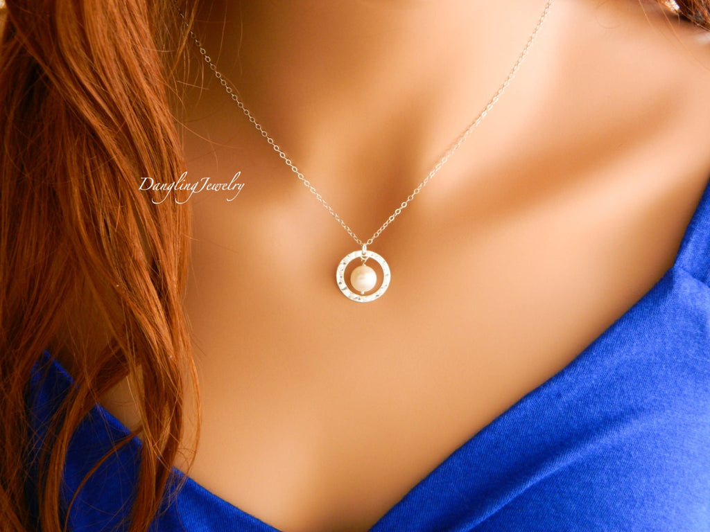 Single Fresh water pearl with ring necklace in Sterling Silver