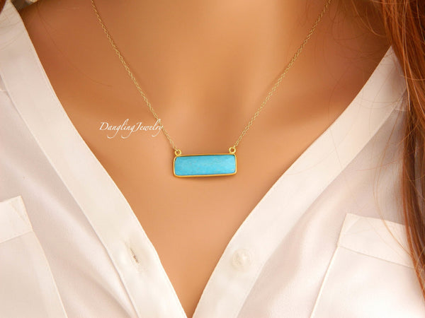 Delicate Rectangle GOLD Gemstone Necklace