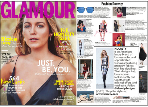 Glamour UK London KLARETY feature American made business-chic apparel clothing