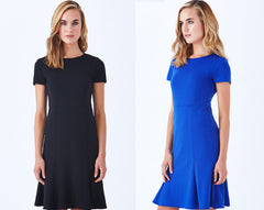 best seller cobalt blue and black paseo fit and flare dress