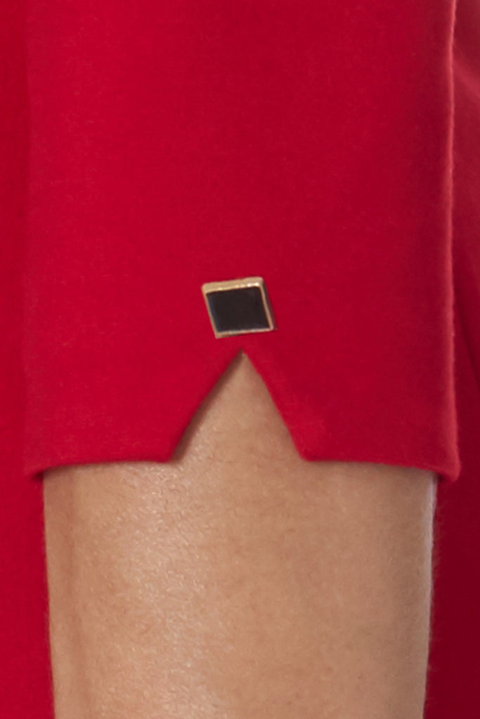 klarety red dress sleeve detail soft stretch ponte double knit fabric clarity