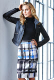 Plaid Pencil High Waist Skirt Back Slit