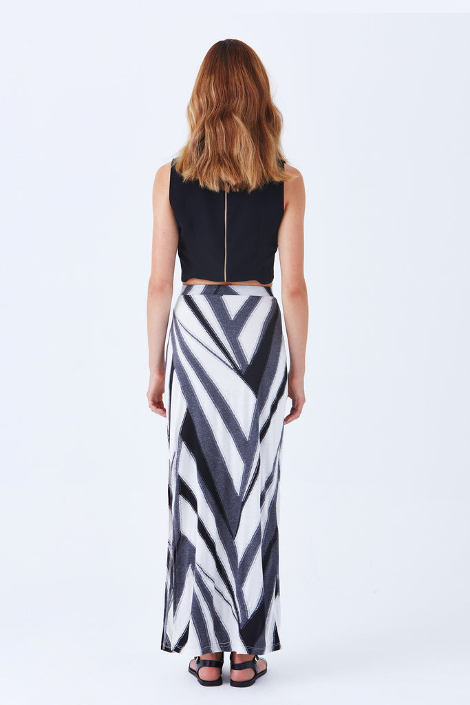 CULVER DIAGONAL STRIPE MAXI SKIRT WITH SIDE SLIT - Klarety