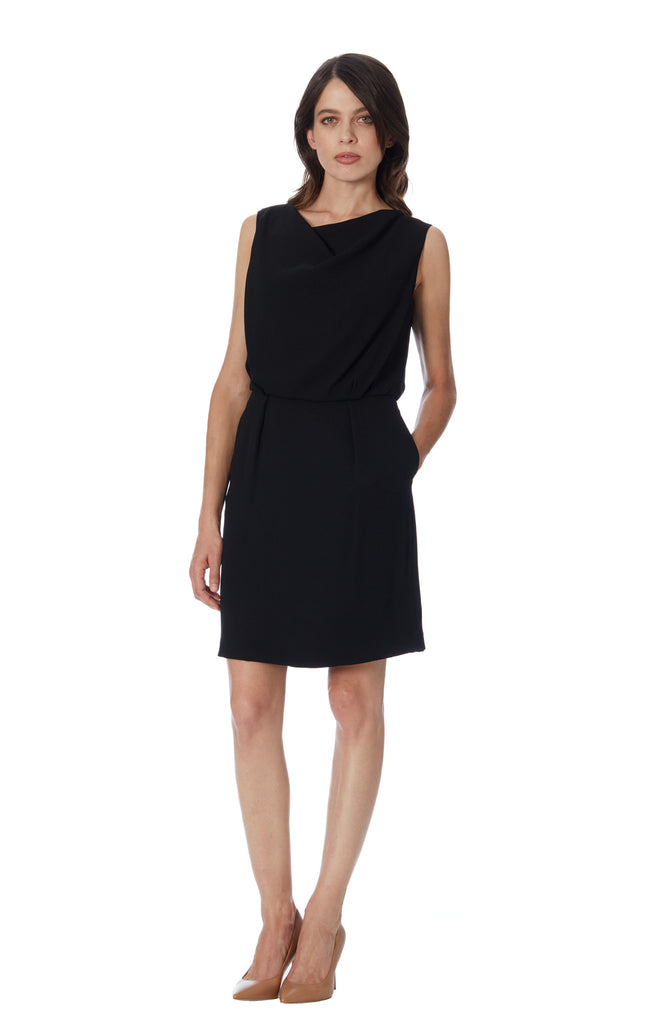 klarety black drape neck pleat dress with pockets day work chic luxury klarity