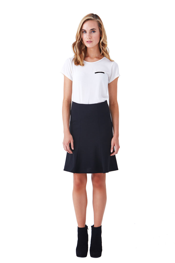 Klarety clarity Black fit and flare skirt for women's work wear, business casual, weekend clothes. FRONT