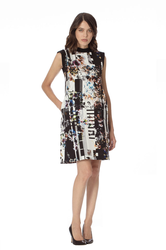 Shop Klarety Sleeveless Mock Neck Floral Print chic day Dress pockets stretch a line designer luxury clarity