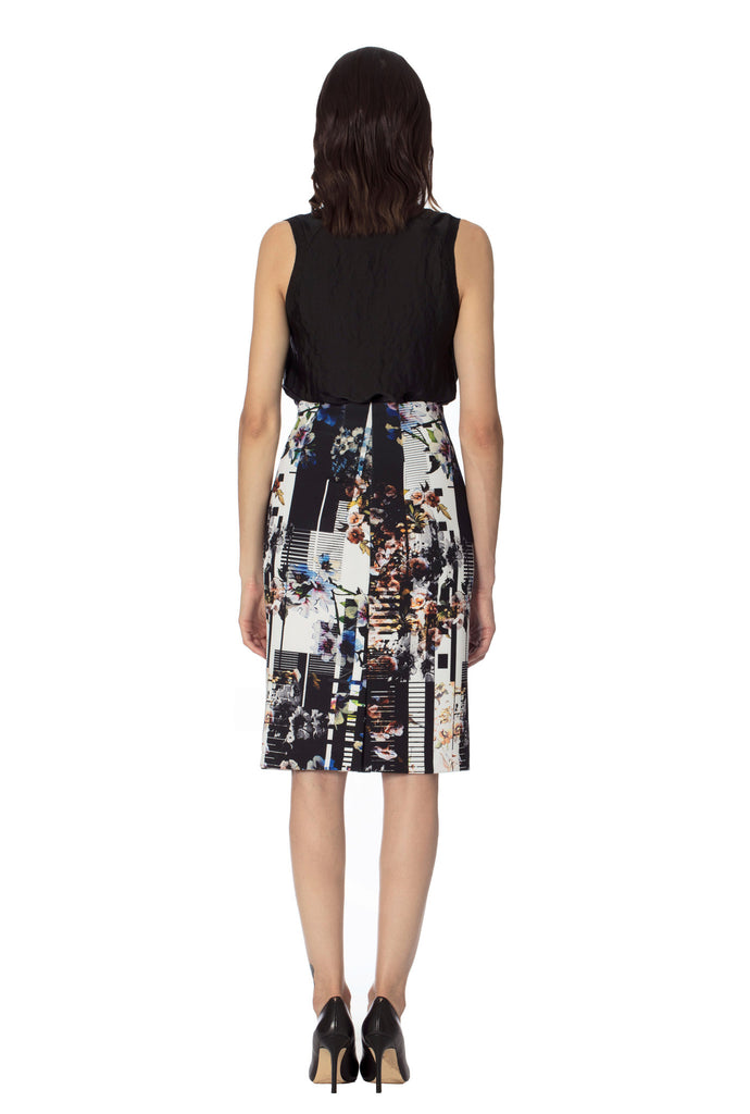 Klarety clarity floral print high waist pencil skirt with back slit for women's workwear, business casual, weekend clothes. BACK