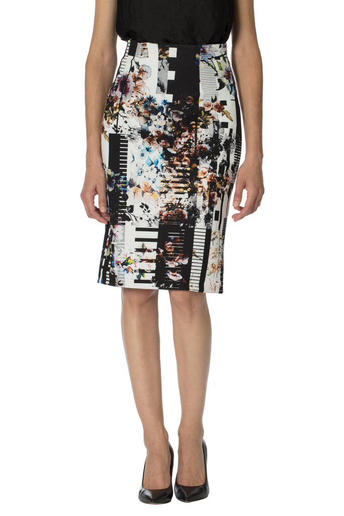 Klarety clarity floral print high waist pencil skirt with back slit for women's workwear, business casual, weekend clothes. DETAIL