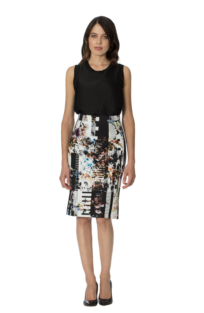 Klarety clarity floral print high waist pencil skirt with back slit for women's workwear, business casual, weekend clothes. FRONT
