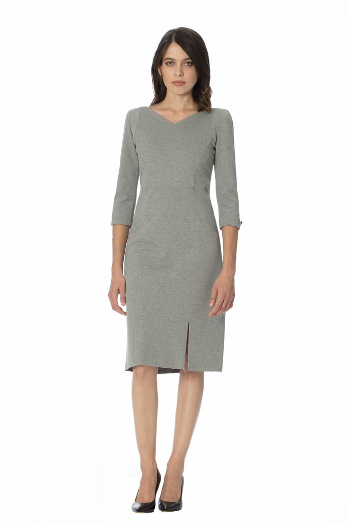 klarety Grey gray v neck shoulder pads midi day dress with front slit and sleeves-chic work dress