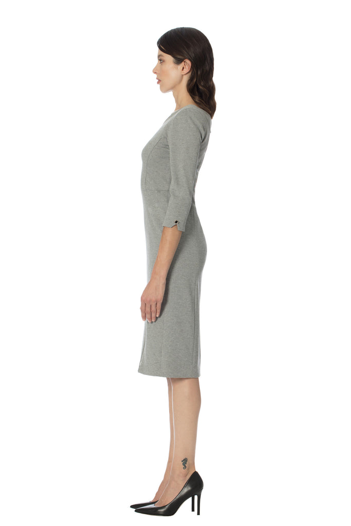 designer luxury stretch ponte double knit sophisticated chic city dress klarety clarity